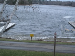 April 28, 2014 Little Boy Resort, docks in and ice moving down from north end.